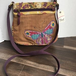 New Fossil Canvas Butterfly Floral Crossbody Purse